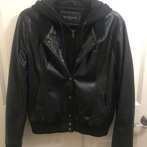 Obey Leather/Sweatshirt Jacket